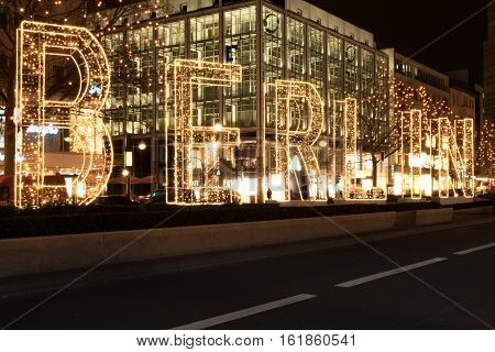 Berlin Germany - 15 december 2016: Illuminated letters of the word Berlin at night on Christmas market in Berlin.