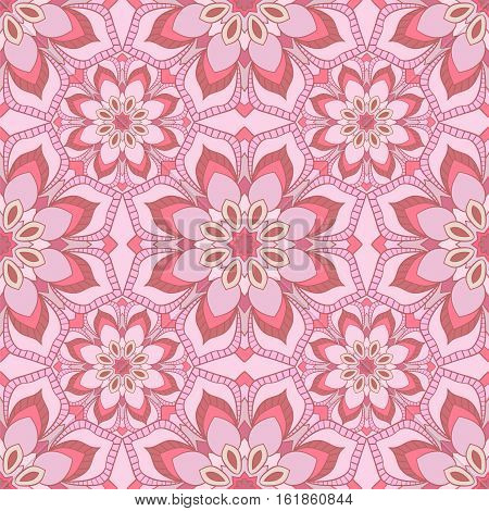 Floral seamless pattern in gentle soothing pink colors. Perfect for bathroom design, children's room. Vector background