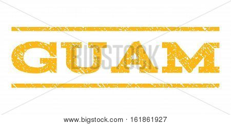 Guam watermark stamp. Text caption between horizontal parallel lines with grunge design style. Rubber seal stamp with dirty texture. Vector yellow color ink imprint on a white background.