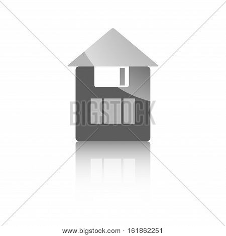 Icon Construction Site The Save Diskette On White Background