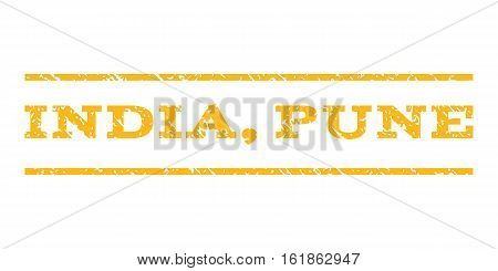 India, Pune watermark stamp. Text caption between horizontal parallel lines with grunge design style. Rubber seal stamp with dirty texture. Vector yellow color ink imprint on a white background.