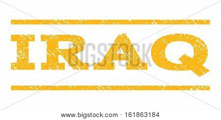 Iraq watermark stamp. Text tag between horizontal parallel lines with grunge design style. Rubber seal stamp with unclean texture. Vector yellow color ink imprint on a white background.