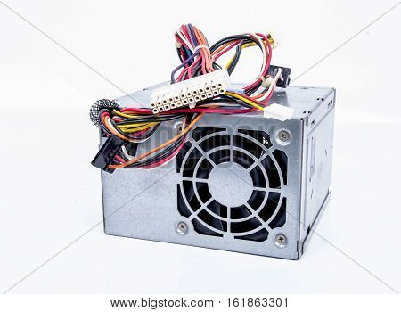 Computer Power Supply accessory On White Background