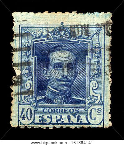 SPAIN, CIRCA 1922: stamp printed in Spain , shows portrait of a King Alfonso XIII, circa 1922