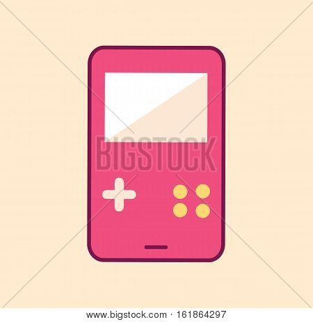 Gamepad old retro kawaii cute cartoon pink flat vector stock