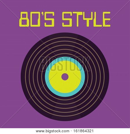 Vinyl mix music 80's style retro design flat vector stock