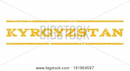 Kyrgyzstan watermark stamp. Text caption between horizontal parallel lines with grunge design style. Rubber seal stamp with dust texture. Vector yellow color ink imprint on a white background.
