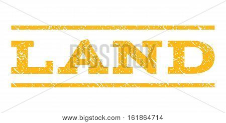 Land watermark stamp. Text tag between horizontal parallel lines with grunge design style. Rubber seal stamp with scratched texture. Vector yellow color ink imprint on a white background.