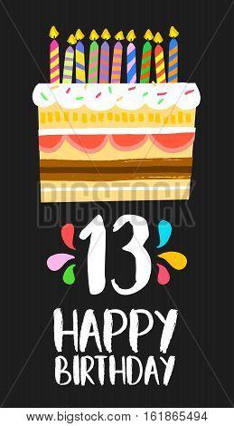 Happy Birthday Cake Card 13 Thirteen Year Party