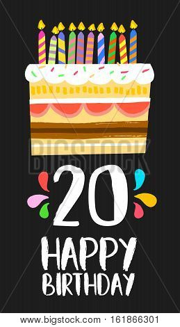 Happy Birthday Cake Card 20 Twenty Year Party