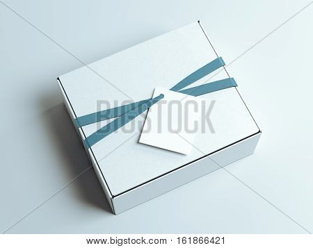 White box with blue tape and blank tag. 3d rendering