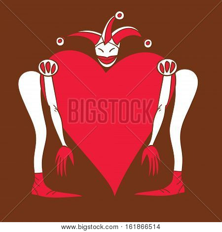 Harlequin with a fantastic trunk vector illustration card for Valentine's Day