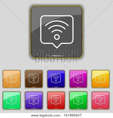 Podcast Icon Sign. Set With Eleven Colored Buttons For Your Site. Vector