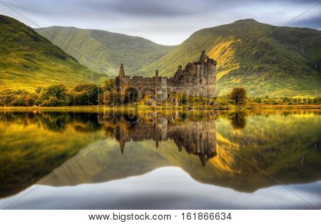 Kilchurn Castle reflections in Loch Awe at sunset Scotland