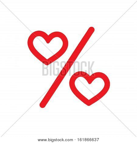 Love percentage. Vector red heart icons. Percentage red web Flat icon  on white background