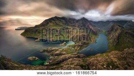 Loch na Cuilce and Loch Coruisk with Black Cuillins in background Isle of Skye Scotland