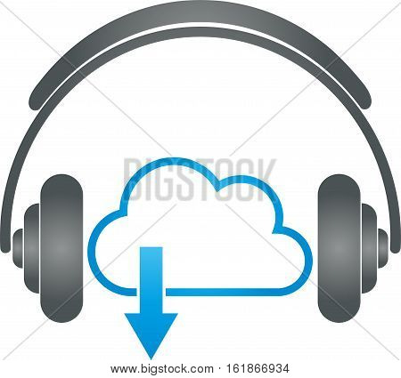 Headphones and cloud, music and sound logo