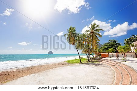 Le Diamant Beach. Beautiful View and Beach Scene in Martinique Carribean