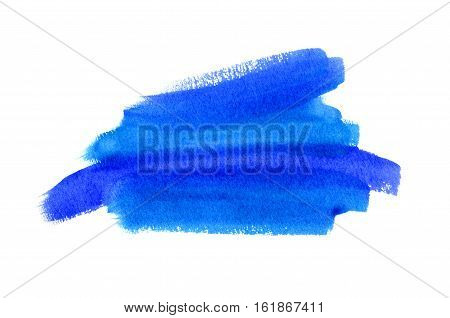 Bright blue watercolor blot on white background hand made drawing