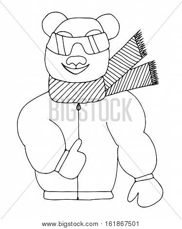 Panda is sun glasses in a winter jacket and scarf. Mono color black line art element for adult coloring book page design.