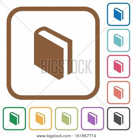 Book simple icons in color rounded square frames on white background