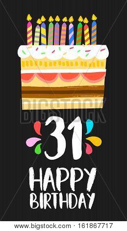 Happy Birthday Card 31 Thirty One Year Cake