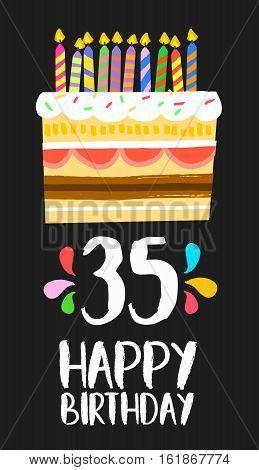 Happy Birthday Card 35 Thirty Five Year Cake