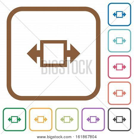 Width tool simple icons in color rounded square frames on white background