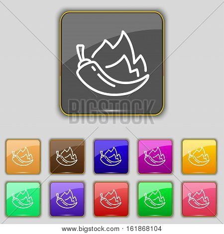 Chilli Pepper Icon Sign. Set With Eleven Colored Buttons For Your Site. Vector