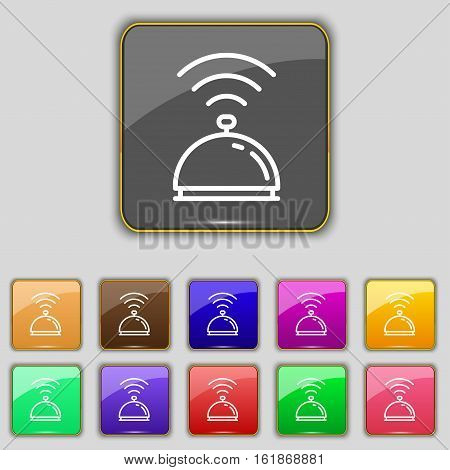 Tray Icon Sign. Set With Eleven Colored Buttons For Your Site. Vector