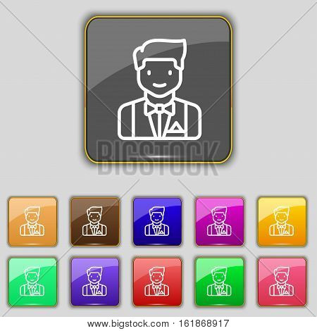 Butler Icon Sign. Set With Eleven Colored Buttons For Your Site. Vector