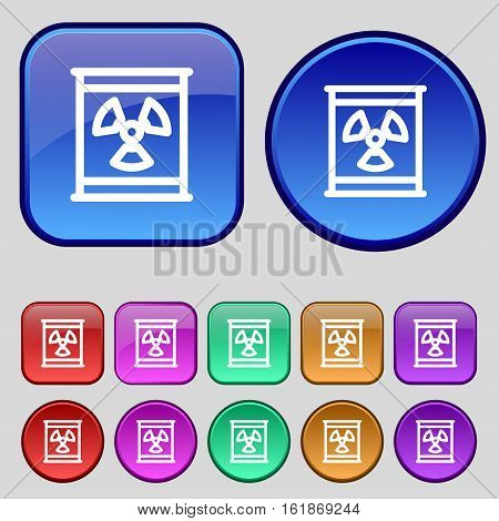Radiation Icon Sign. A Set Of Twelve Vintage Buttons For Your Design. Vector