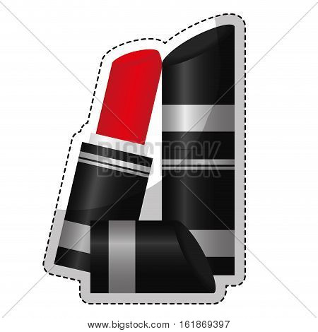 sticker of lipstick icon over whte background. makeup and cosmetic concept. colorful design. vector illustration