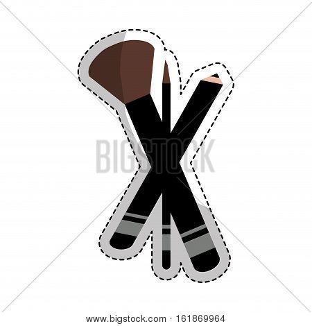 sticker of brushes makeup equipment icon over white background. colorful design. vector illustration