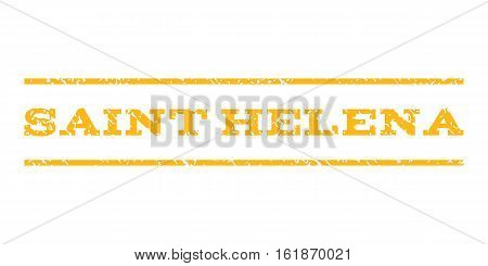 Saint Helena watermark stamp. Text tag between horizontal parallel lines with grunge design style. Rubber seal stamp with dust texture. Vector yellow color ink imprint on a white background.