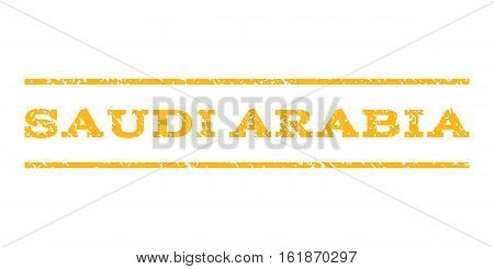 Saudi Arabia watermark stamp. Text tag between horizontal parallel lines with grunge design style. Rubber seal stamp with scratched texture. Vector yellow color ink imprint on a white background.