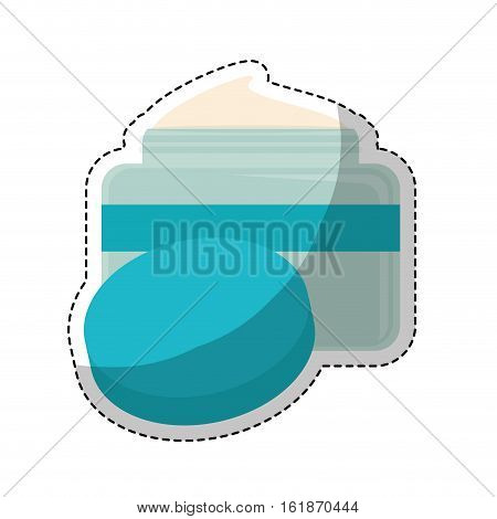 sticker of moisturizer facial cream icon over white background. makeup and cosmetic concept. colorful design. vector illustration