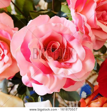 colorful vibrant pink fake rose flower closeup