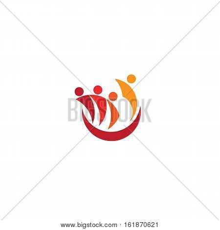 Isolated abstract people silhouettes logo. Teacher with pupils logotype. Lecturer and students icon. Univesity education sign. Tourists listening to guide vector illustration