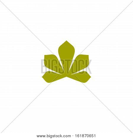 Isolated abstract flat green color logo. Chestnut tree leaf on white background vector illustration. Nature element logotype