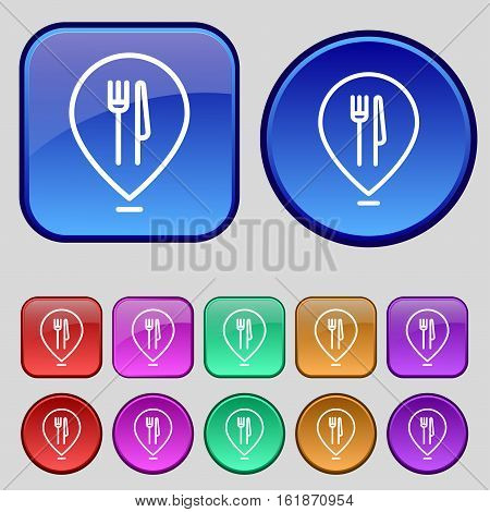 Map Pointer With Restaurant Icon Sign. A Set Of Twelve Vintage Buttons For Your Design. Vector