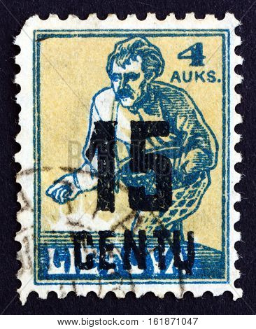 LITHUANIA - CIRCA 1922: a stamp printed in Lithuania shows Sower circa 1922