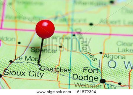 Cherokee pinned on a map of Iowa, USA