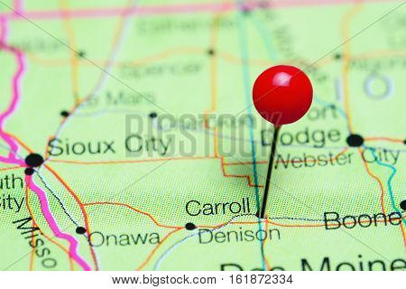 Carroll pinned on a map of Iowa, USA
