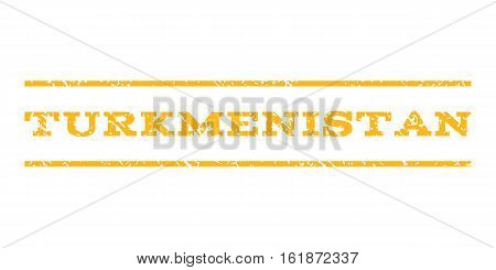 Turkmenistan watermark stamp. Text tag between horizontal parallel lines with grunge design style. Rubber seal stamp with dust texture. Vector yellow color ink imprint on a white background.
