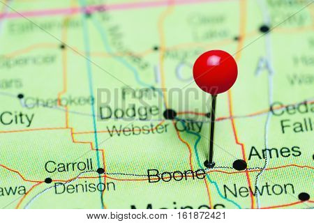 Boone pinned on a map of Iowa, USA