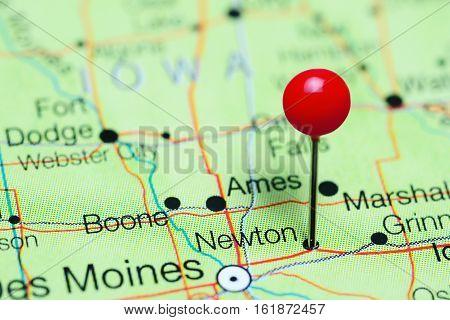 Newton pinned on a map of Iowa, USA