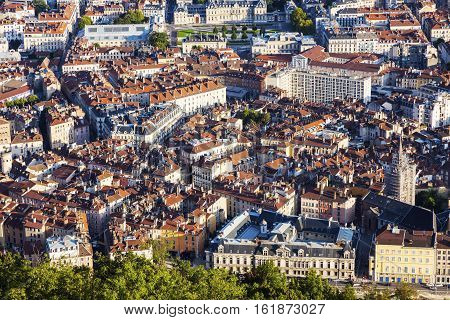 Grenoble - aerial panorama of the city. Grenoble Auvergne-Rhone-Alpes France