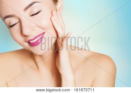 portrait of beautiful woman for design spa concept