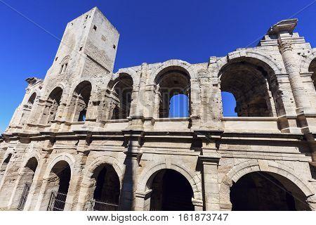 Roman Amphitheatre in Arles. Arles Provence-Alpes-Cote d'Azur France.